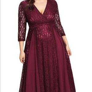Lace and Chiffon Maxi Evening Gown